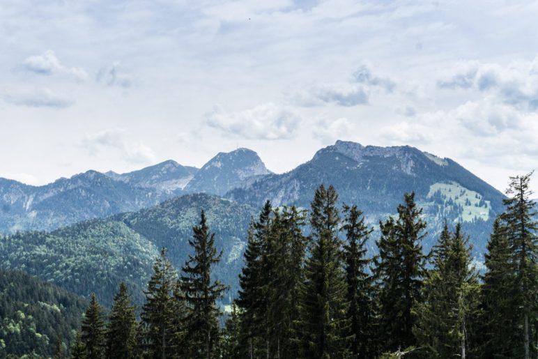 Die Aussicht auf Wendelstein und Breitenstein vom Schwarzenberg-Gipfel