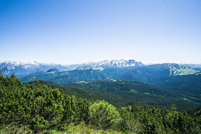 Der Blick vom Gipfel reicht von den Berchtesgadener Alpen über die Steinberge bis zur Steinplatte. Weiter westlich wäre noch das Kaisergebirge