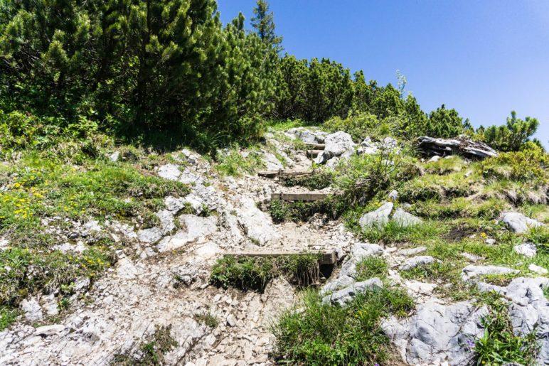 Steiler Aufstieg auf das Dürrnbachhorn über viele Stufen und Felsen