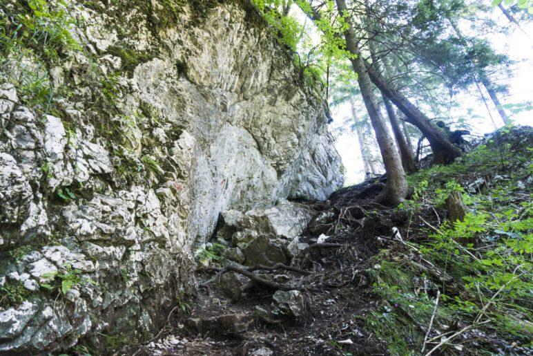 Am Fels entlang bergauf