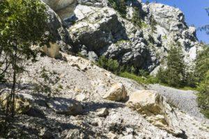 An der Abzweigung zurück zum See: Hier sind einige Felsen vom Traunstein heruntergekommen