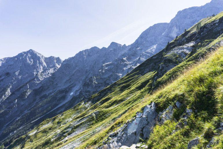 Auf dem Abstiegsweg, mit dem Hohen Göll im Blick