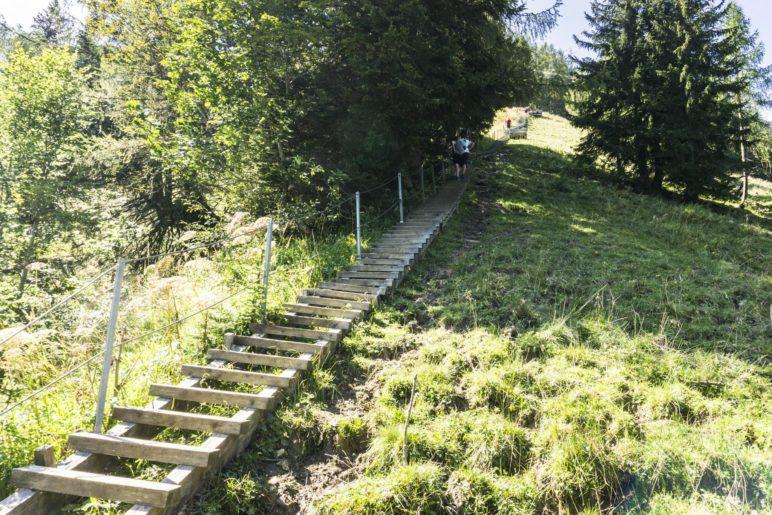 Die langen Holztreppen auf dem Deutschen Weg