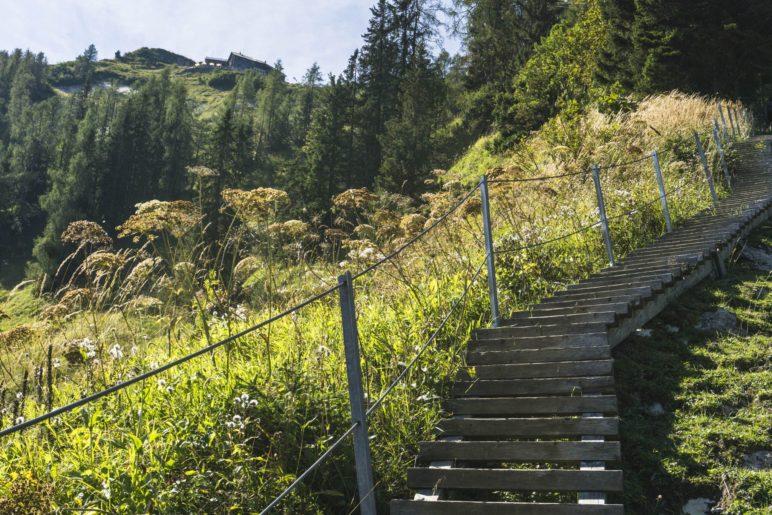 Auf den Holztreppen, mit dem Purtschellerhaus im Blick