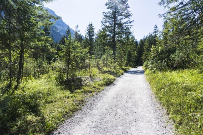 Der Wanderweg durch das Wimbachtal ist gleichbleibend leicht zu gehen