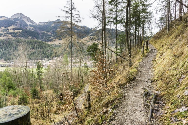 Aufstieg auf dem Höhenweg oberhalb von Bayrischzell