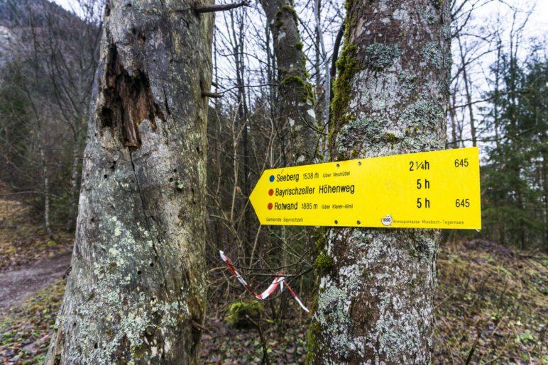 Wegweiser zum Seebergkopf und für den Bayrischzeller Höhenweg, auf dem wir bis zur Neuhüttenalm wandern