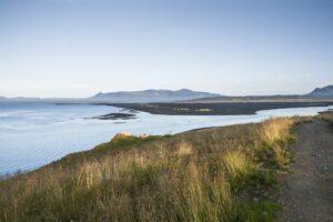 Ein Blick von oben über den Húnafjörður nach Süden