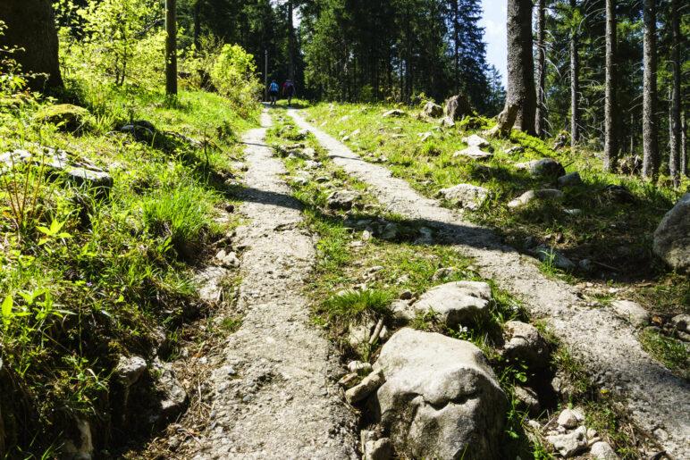 Bergauf über den betonierten Weg