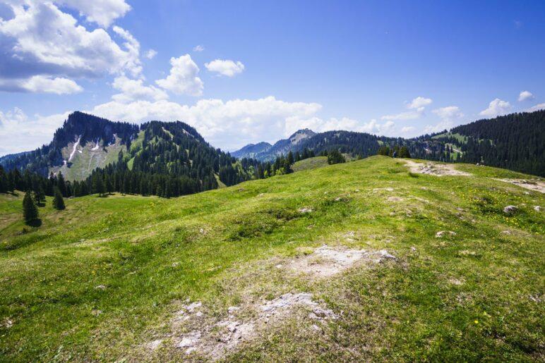 Blick zurück auf dem Laubenstein-Gipfel zu Predigtstuhl und Hochries