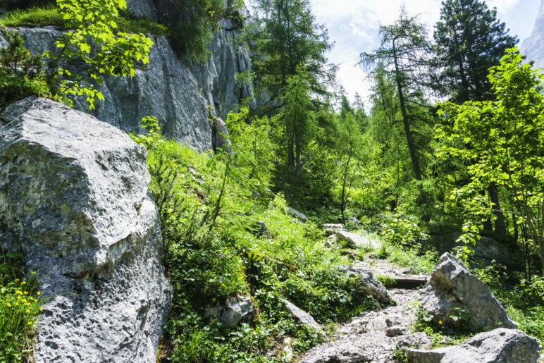 Auf dem Aufstiegsweg zur Blaueishütte – an der Felswand entlang