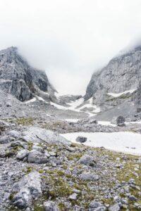 Blaueisspitze, Blaueisgletscher und der Hochkalter in den Wolken