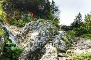 Damit man sich hier nicht versteigt: Ein roter Pfeil am Fels zeigt den Weg